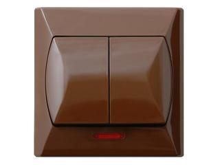 Łącznik natynkowy AKCENT schodowy+jednobieg. z podśw. brązowy Ospel