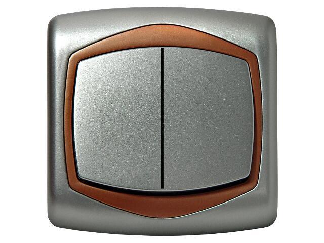 Łącznik natynkowy TON METALIC podwójny schodowy srebro miedź Ospel