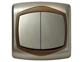 Łącznik natynkowy TON METALIC podwójny schodowy satyna złoto Ospel