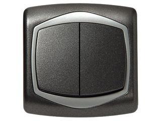 Łącznik natynkowy TON METALIC schodowy+jednobiegunowy grafit srebro Ospel