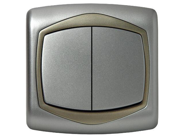 Łącznik natynkowy TON METALIC schodowy+jednobiegunowy srebro satyna Ospel