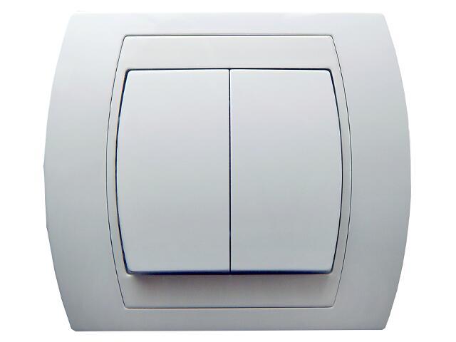 Łącznik natynkowy GAZELA schodowy+jednobiegunowy biały Ospel