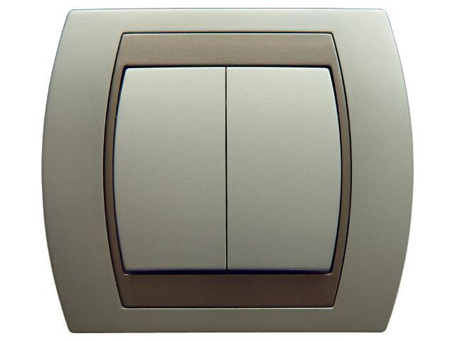 Łącznik natynkowy GAZELA METALIC schodowy+jednobiegunowy srebro tytan Ospel