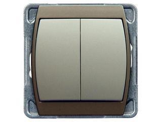 Łącznik modułowy GAZELA METALIC schodowy+jednobiegunowy srebro tytan Ospel
