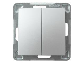 Łącznik modułowy IMPRESJA schodowy +jednobiegunowy srebro Ospel