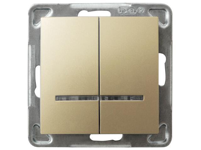 Łącznik modułowy IMPRESJA dwugrupowy z podśw. złoty metalik Ospel