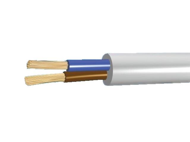 Przewód instalacyjny giętki OMY 2x0,5mm 300/300V biały