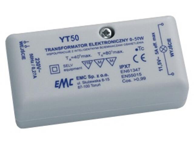 Transformator 1-fazowy elektroniczny 230V 0-50W YT50 EMC