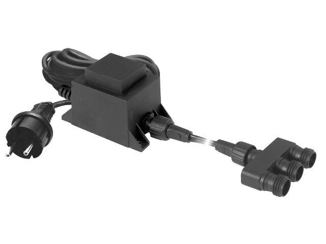 Zasilacz do oświetlenia IP44 +potrójne złącze wtykowe, czarny Paulmann