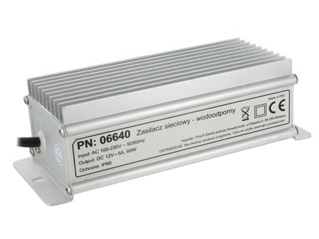 Zasilacz do taśm LED 60W 12V 5A IP67 06640 Whitenergy