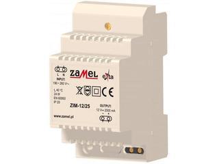Zasilacz na szynę DIN impulsowy 230VAC/12VDC 2000mA 3-modułowy typ:ZIM-12/25 Zamel