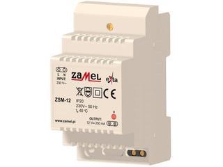 Zasilacz na szynę DIN stabilizowany 230VAC/12VDC 250mA typ: ZSM-12 Zamel