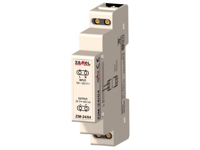 Zasilacz na szynę DIN impulsowy 230VAC/24VDC 400mA 1-modułowy typ:ZIM-24/04 Zamel