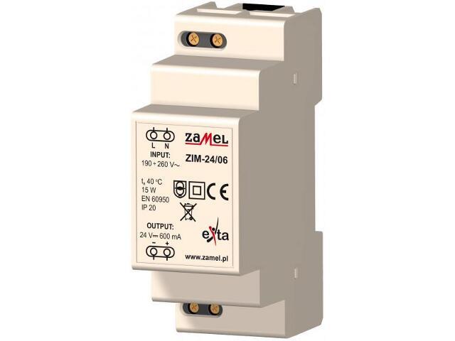 Zasilacz na szynę DIN impulsowy 230VAC/24VDC 600mA 2-modułowy typ:ZIM-24/06 Zamel