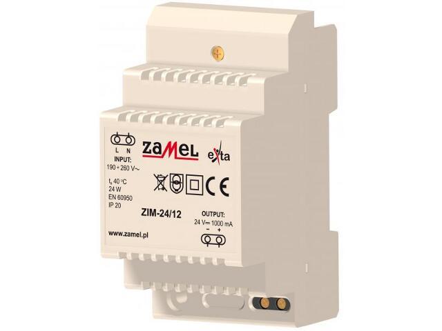 Zasilacz na szynę DIN impulsowy 230VAC/24VDC 1000mA 3-modułowy typ:ZIM-24/12 Zamel