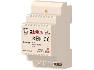 Zasilacz na szynę DIN stabilizowany 230VAC/24VDC 125mA typ: ZSM-24 Zamel