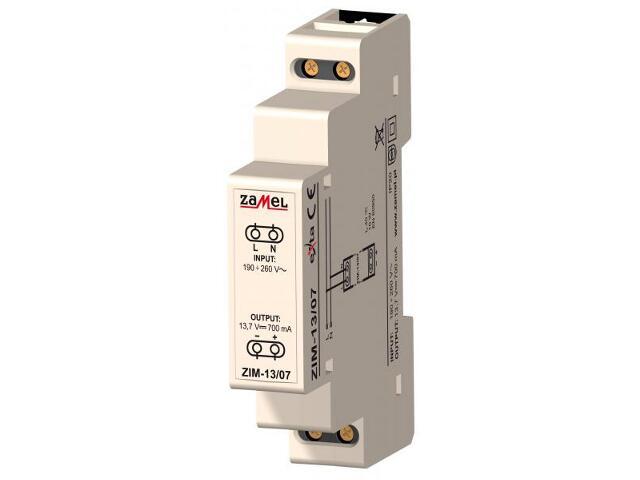Zasilacz na szynę DIN impulsowy 190-260V AC/13,7V DC 700mA typ: ZIM-13/07 Zamel