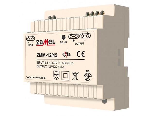 Zasilacz na szynę DIN impulsowy 12V DC 4,5A typ: ZMM-12/45 Zamel