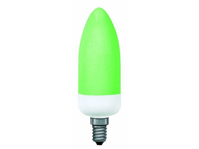 xŚwietlówka energooszczędna świecowa Color 5W= światło 25W E14 zielona Paulmann