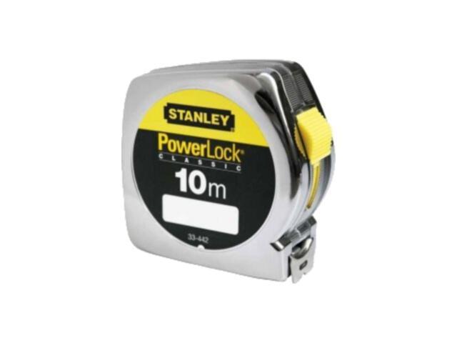 Miara zwijana miara stalowa powerlock 10m x 25mm obudowa chromowana 0-33-442 Stanley
