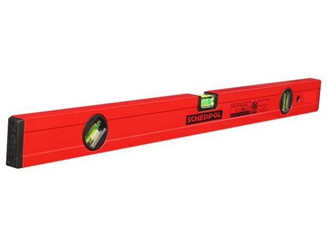 Poziomnica czerwona ze wskaźnikami pion/poziom/45° 120cm Sched-Pol