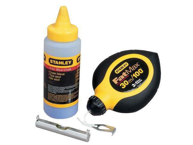 Zestaw sznurek traserski 30m Fatmax , kreda niebieska 115g, poziomnica sznurkowa 47-681 Stanley
