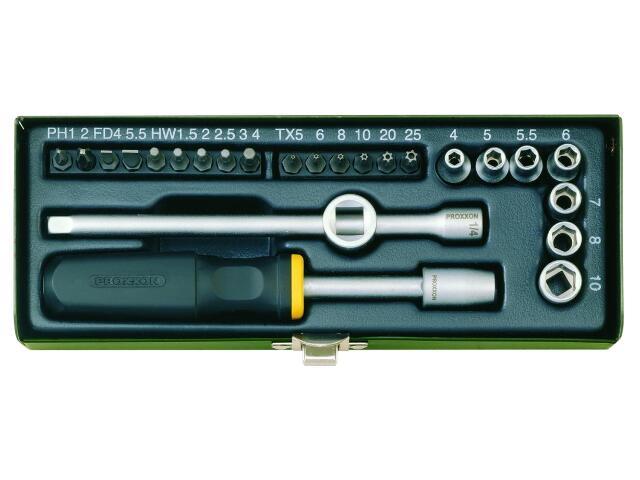 """Zestaw kluczy nasadowych rowerowych 1/4"""" z nasadkami i bitami 28 części 23072 PROXXON"""