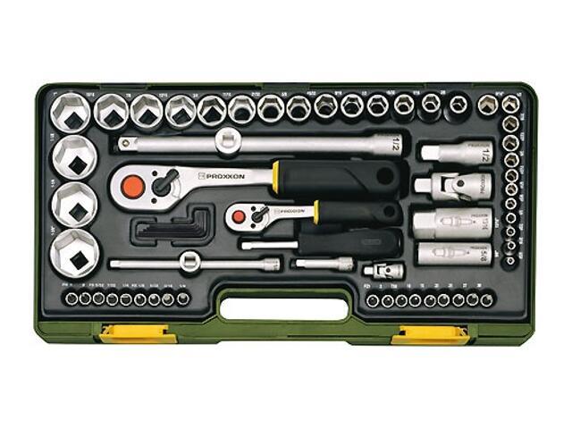"""Zestaw kluczy nasadowych z grzechotkami 1/4"""" i 1/2"""" z nasadkami calowymi 65 części 23294 PROXXON"""