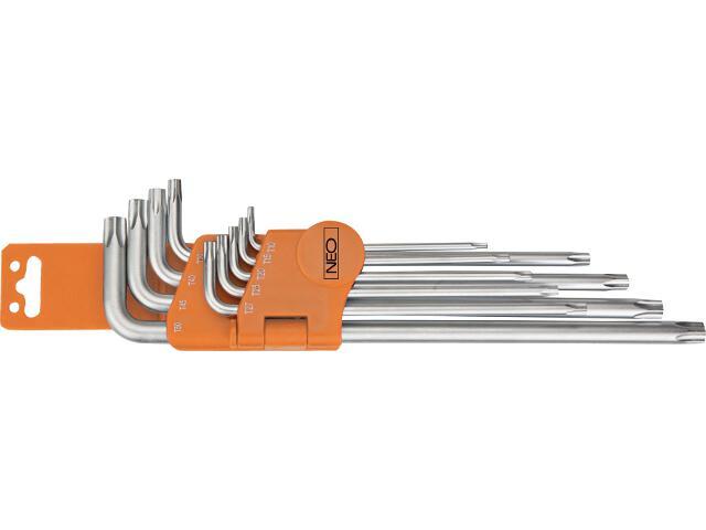 Zestaw kluczy sześciokątnych długich TORX z otworem 9szt. 09-520 Neo