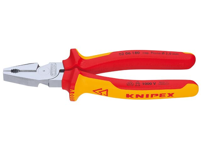 Szczypce uniwersalne VDE 180mm 1000V 02 06 180 Knipex