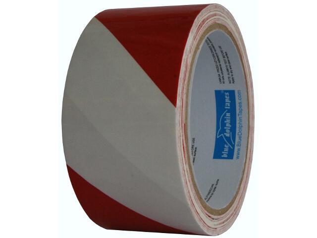 Taśma bezpieczeństwa 75mmx100m biało-czerwona Blue Dolphin Tapes