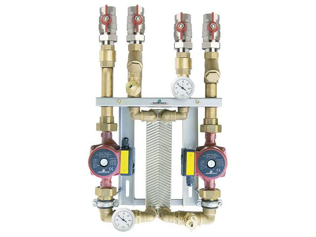 Zestaw wymiennikowy 10-płytowy 10-15kW dwie pompy 25-40, 25-60 IC8x106040Z Weberman