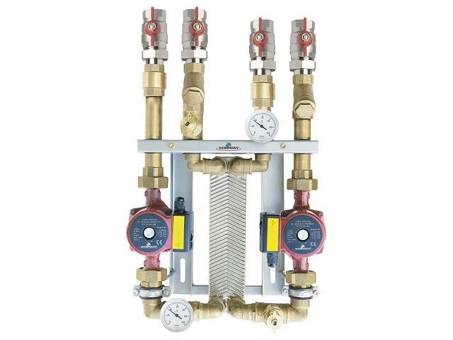 Zestaw wymiennikowy 10-płytowy 10-15kW dwie pompy 25-60 IC8x1060Z Weberman