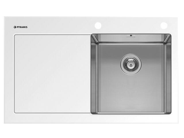 Zlewozmywak CRYSTALON 860x530mm 1B1D biały R 109502030 Pyramis