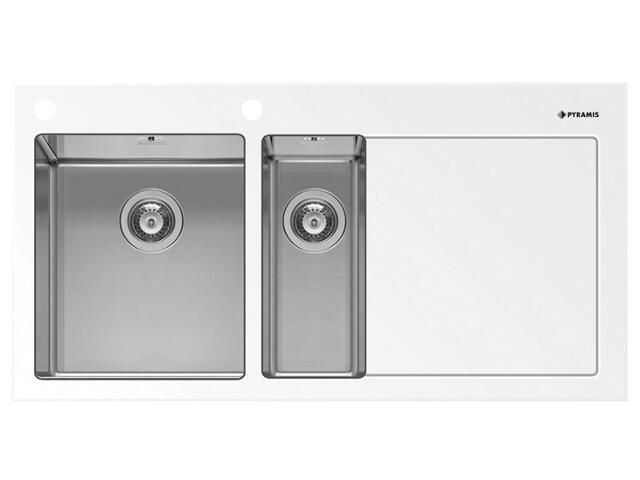 Zlewozmywak CRYSTALON 1000x520mm 1 1/2 B 1D biały L 109502530 Pyramis