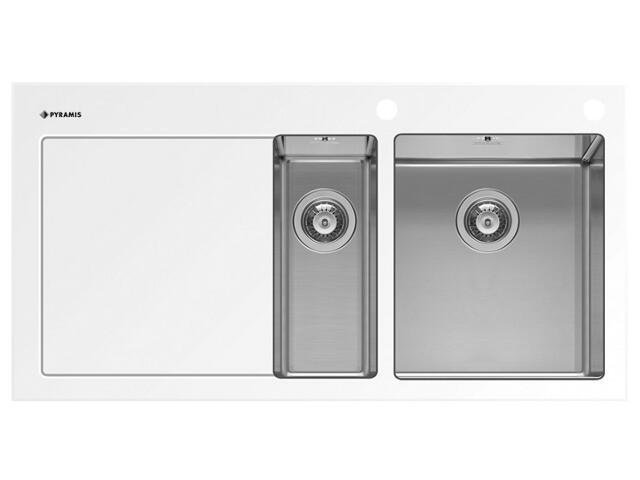 Zlewozmywak CRYSTALON 1000x520mm 1 1/2 B 1D biały R 109502430 Pyramis