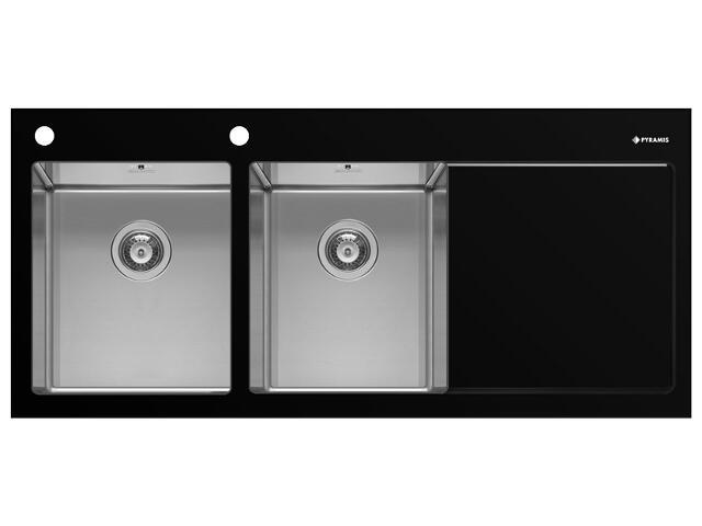 Zlewozmywak CRYSTALON 1160x520mm 2B1D czarny L 109502730 Pyramis