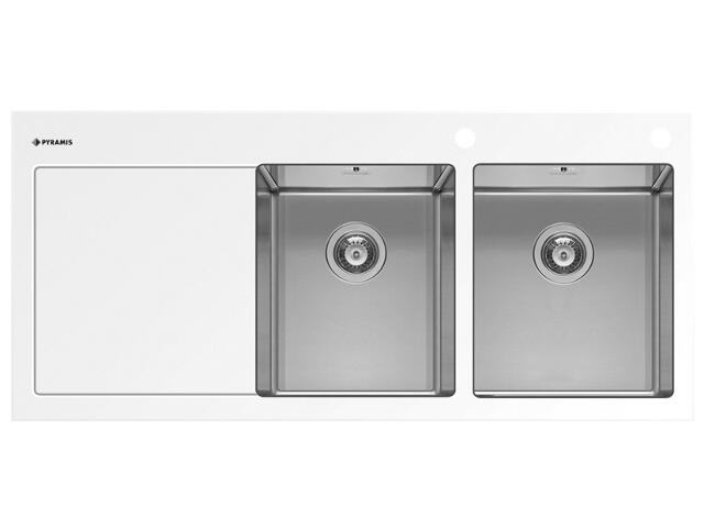 Zlewozmywak CRYSTALON 1160x520mm 2B1D biały R 109502930 Pyramis