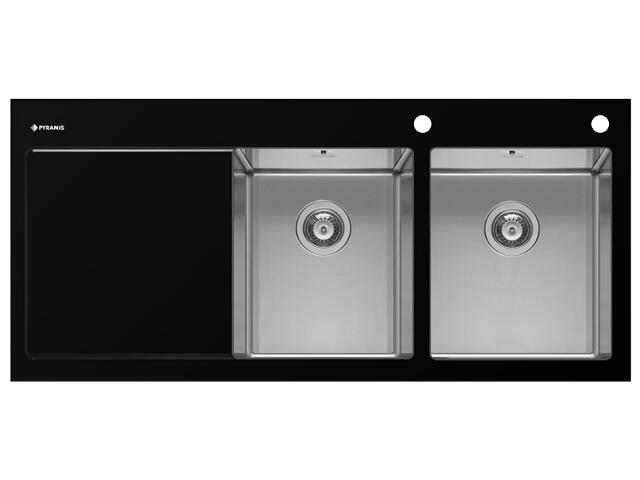 Zlewozmywak CRYSTALON 1160x520mm 2B1D czarny R 109502630 Pyramis