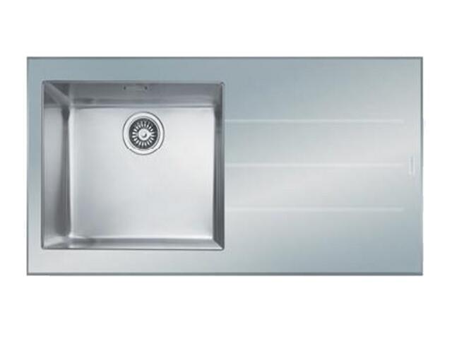 Zlewozmywak Crystal CYV 611 1000x510mm stalowy/biały komora z lewej 101.0062.562 Franke