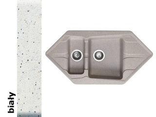 Zlewozmywak PETRA 1000x500mm 1 1/2B2D biały 077700001 Pyramis