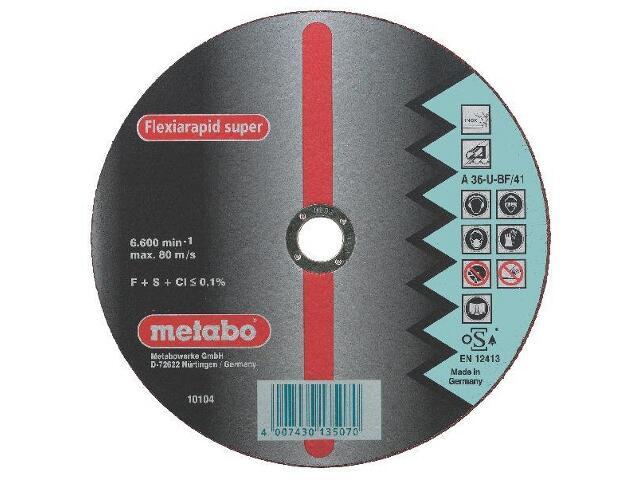 Tarcza tnąca Flexiarapid super A 36-U 230x1,9x22,2mm do stali nierdz. wypukła Metabo