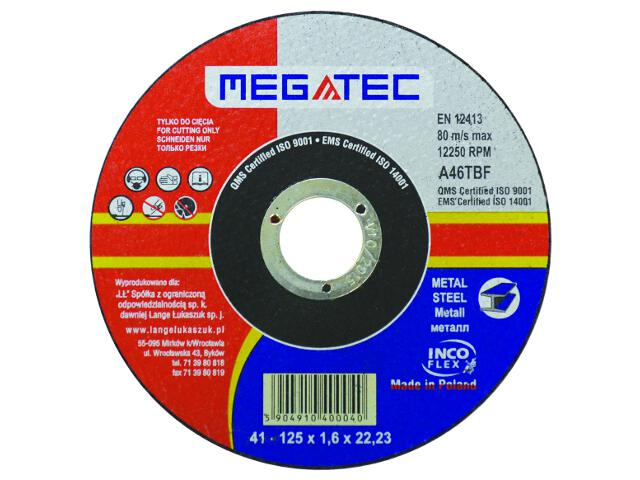 Tarcza tnąca D125x22x1,6mm Megatec