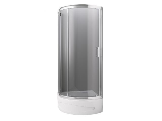 Zestaw kabina SYMFONIA 80 jednoskrzydłowa profil chrom, szkło grafit, brodzik z obudową