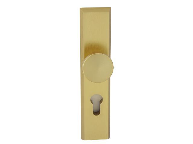 Klamka drzwiowa zewn. z gałką RONDO szyld długi wkładka 92mm złoty mat Dieckmann
