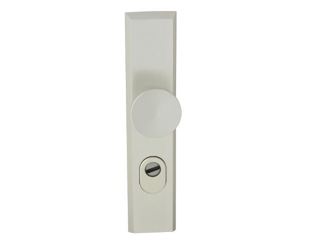 Klamka drzwiowa zewn. z gałką RONDO szyld długi wkładka 72mm szampański mat zab. cyl. Dieckmann