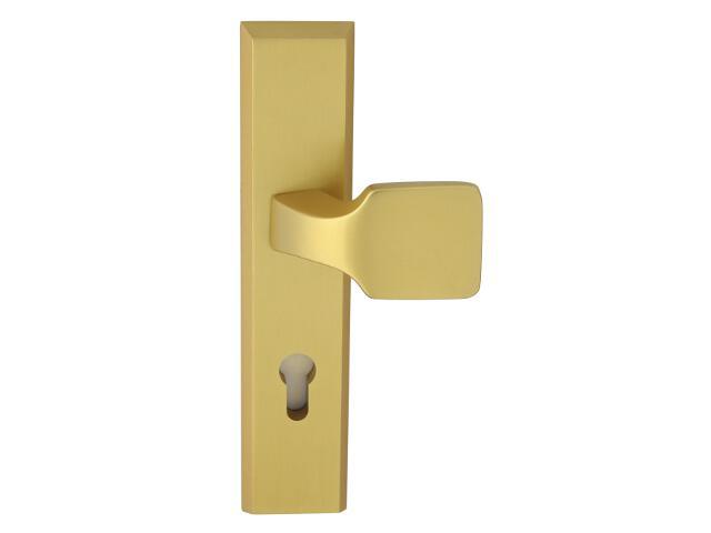 Klamka drzwiowa zewn. z pochwytem RONDO szyld długi wkładka 72mm złoty mat Dieckmann