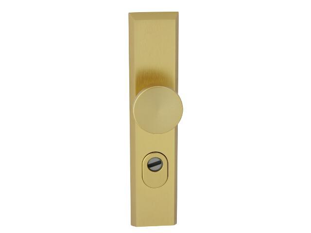Klamka drzwiowa zewn. z gałką RONDO szyld długi wkładka 72mm złoty mat zab. cyl. Dieckmann