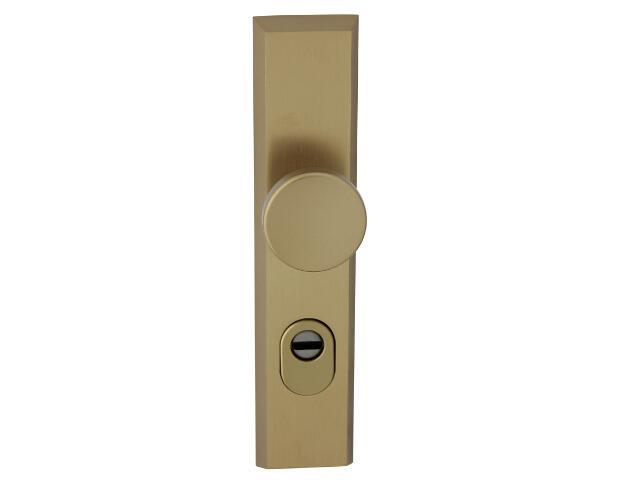 Klamka drzwiowa zewn. z gałką RONDO szyld długi wkładka 72mm brąz mat zab. cyl. Dieckmann
