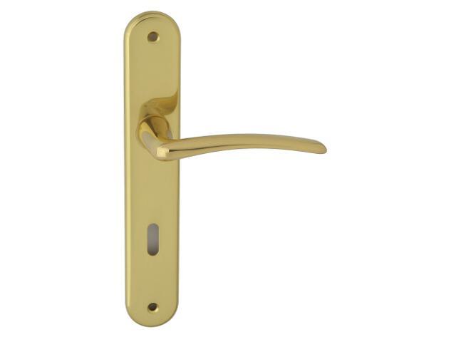 Klamka drzwiowa Istambuł szyld długi klucz mosiądz lakierowany 90mm HOPPE
